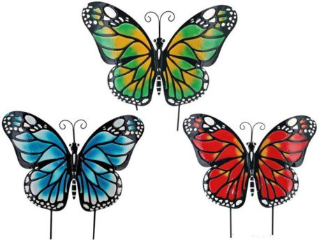 3 Large Iron Butterfly Garden Flat Stakes