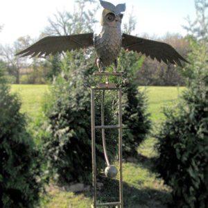 """Large Solar Metal Flying Owl """"Weston"""" Rocking Stake"""