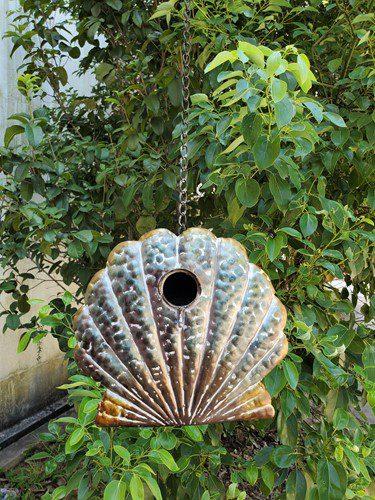 Coastal Hanging Birdhouse - Seashell