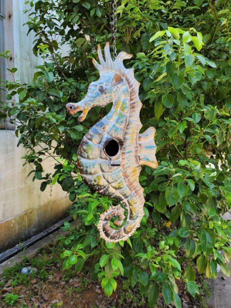 Coastal Hanging Birdhouse - Seahorse