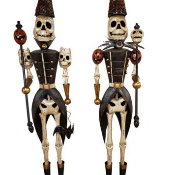 Set of 2 Standing Halloween Skeleton Soldiers