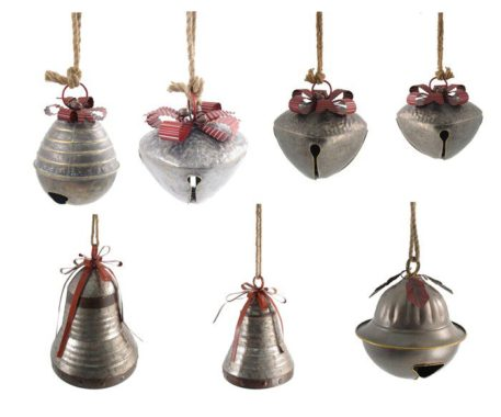 Galvanized Jingle Bells with Ribbon