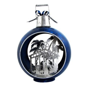 Blue Christmas Ornament with Nativity Scene