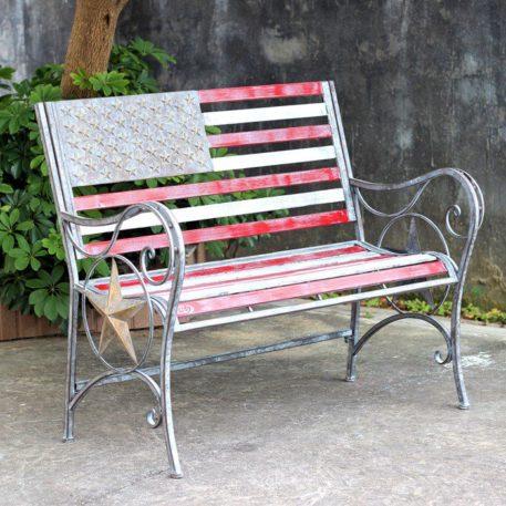 American Flag Iron Garden Bench