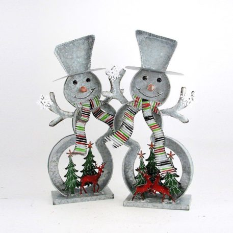 Set of 2 Galvanized Cookie Cutter Snowmen with Christmas Trees & Reindeer
