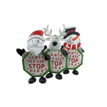 Set of 3 Galvanized Iron Chrismas Crossing Guard Sign Decorations