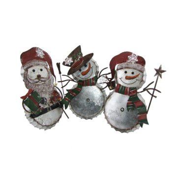 Set of 3 Galvanized Bottle Cap Snowmen and Santa Decor
