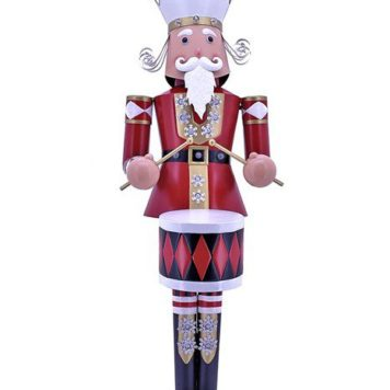 Large Iron Christmas Nutcracker George with Drum & LED Lights