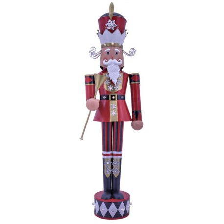 Large Iron Christmas Nutcracker David with Trumpet & LED Lights