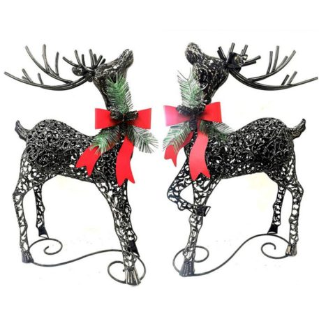 Set of 2 Galvanized Christmas Reindeer in Silver Finish with Red Ribbon & Bells