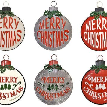 Set of 6 Large Galvanized Merry Christmas Ornament Wall Signs