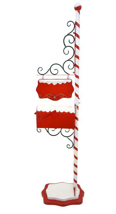 Christmas Mailbox with Candy Cane Pole and Hanging Sign Plate