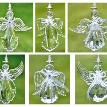 Hanging Clear Acrylic Angel Ornaments in 6 Assorted Styles