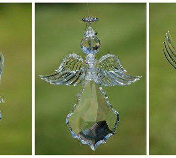 Large Hanging Clear Acrylic Angel Ornaments in 3 Assorted Styles