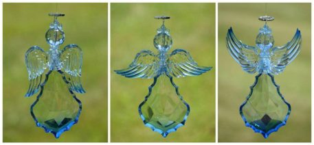 Large Hanging Blue Acrylic Angel Ornaments in 3 Assorted Styles