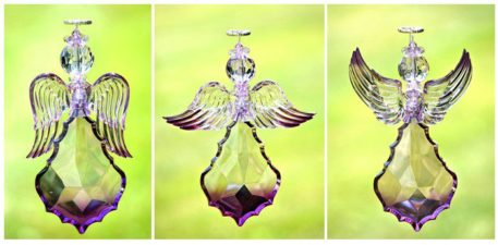 Large Hanging Purple Acrylic Angel Ornaments in 3 Assorted Styles