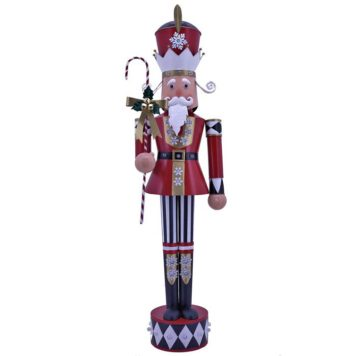 "Large Iron Christmas Nutcracker ""Harry"" with Candy Cane & LED Lights"