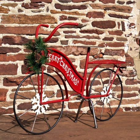 Large Iron Merry Christmas Bicycle Decor
