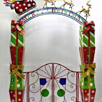 Christmas Garden Gate with Santa, Sleigh, Reindeer, & LED Lights