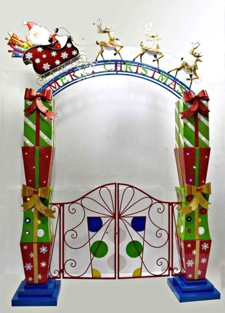 Christmas Garden Gate with Santa, Sleigh, Reindeer, & LED Lights