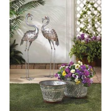 Large Galvanized Standing Flamingo