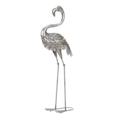 Large Galvanized Standing Flamingo