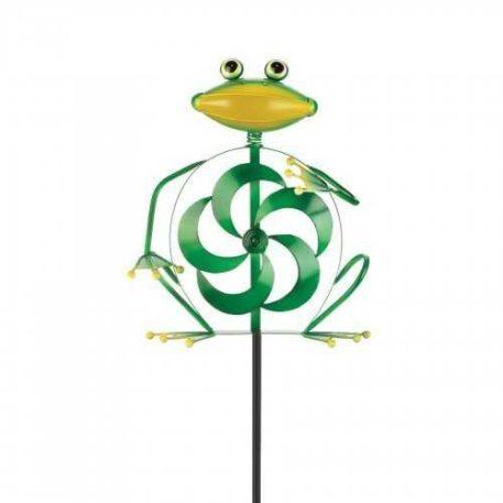 Frog Spinner Garden Stake