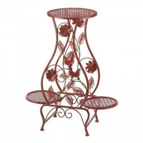 Red Rooster Plant Stand