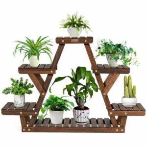 Triangular Wooden Plant Shelf
