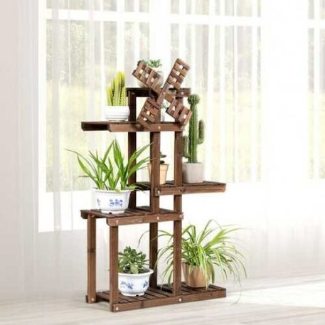 Windmill Style Wooden Plant Stand