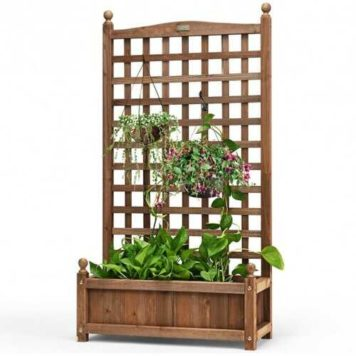 Wooden Planter Box & Trellis