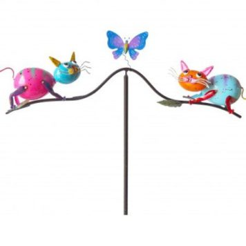 "58"" Playful Cats Balancing Yard Stake"