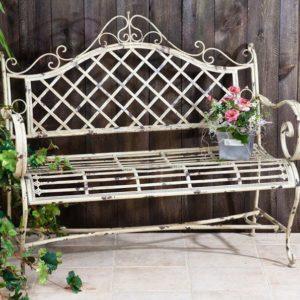 "Iron Garden Bench ""Stephania"" in Antique White Finish"