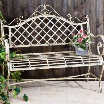"Iron Garden Bench ""Stephania"" in Antique White Finish"