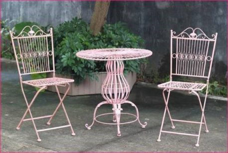 Frosted Pink Metal Bistro Set